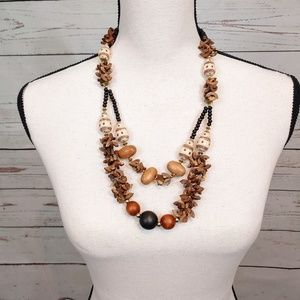 Jewelry - Double Strand Tribal African Wood Beaded Necklace